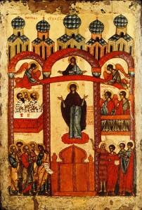 Икона «Покров Пресвятой Богородицы» (Новгород, 1401-1425 годы, Государственная Третьяковская галерея)